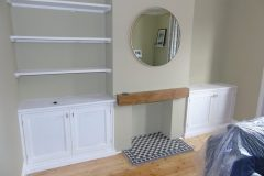Framed bespoke painted alcove furniture